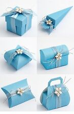 Luxury DIY Wedding Christening Baby Party Favour Gift Sweet Boxes - BLUE SILK