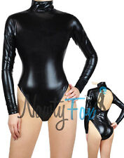 Metallic Black Mock Neck Long Sleeve Leotard Dance Bodysuit Costume S-3XL