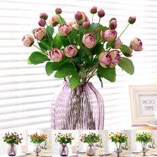 3 Heads Artificial Silk Flowers Peony Bud Roses Bouquet Wedding Home Decoration