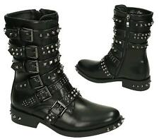 WOMENS MILITARY GOTH PUNK STRAPPY STUDDED BUCKLE BUCKLE BIKER ZIP ANKLE BOOTS