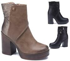 WOMENS FAUX LEATHER CHELSEA PLATFORM HIGH BLOCK HEEL ZIP ANKLE BOOTS SHOES SIZE