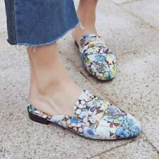 Ladies new Womens Mules Sandals Oxfords Leather Floral Flats Slippers Shoes Size