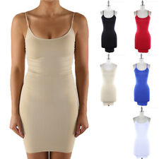 Seamless Solid Rib Tunic Long Fitted Camisole Tank Top Casual Nylon ONE SIZE