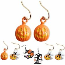 2017 Halloween Party Spider Pumpkin Dangle Hook Earrings Women Hallowmas Jewelry