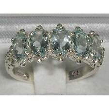 English Hallmarked Solid 925 Sterling Silver Aquamarine Ring