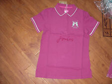 BNWT LADIES JOULES AMITY SLIM FIT DARK PINK POLO TOP SHIRT SIZE 10.RRP £29.95