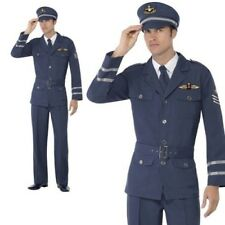 Handsome Pilot Costume Mens Navy Blue Airline Officer Fancy Dress Outfit