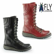 Fly London STER768FLY Ladies Womens Leather Casual Wedge Heel Mid Calf Boots