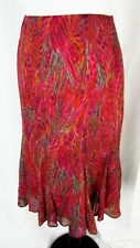 Chico's Skirt size 0 6 8 Fire Red Paisley Watercolor Silk Flared Modest Slim