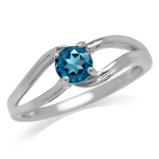 Solitaire London Blue Topaz White Gold Plated 925 Sterling Silver Promise Ring