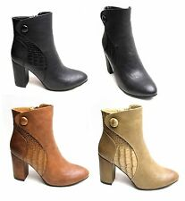 Womens Pointy Ankle Boots Block High Heels Zip Up Shoes Faux Croc Leather Casual