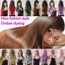 Ombre wig long hair full head curly wave pastel black purple red brown synthetic