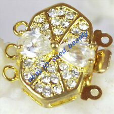 3 Strands Yellow Gold Plated Crystal Inlayed Clasp 15X20mm