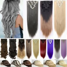 Long Straight Curly Real Thick 18Clips Clip In Hair Extensions Real Full Head LC