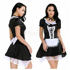 Womens Maid Dress Halloween Cosplay Costume Maidservant Apron Fancy 3pcs Outfits