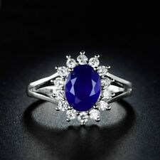 Classic Blue Sapphire Promising 18k White Gold Filled Cluster Halo Ring Sz6-Sz9