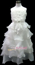 Ivory Rosette Pageant Wedding Flower Girl Party Dress Long Gown Sz 3-12 Age 2-13