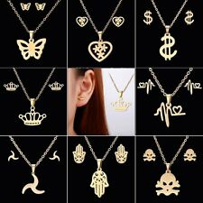 Fashion Stainless Steel Gold Butterfly Earrings Necklace Set Jewelry Women Gift