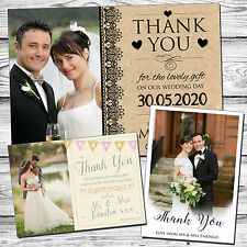 50 Vintage Personalised Wedding Thank You Cards With Envelopes Folded Postcard