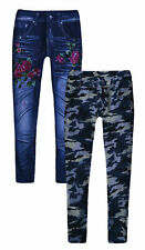 Girls Jeggings New Kids Rose Camo Printed Jean Stretch Leggings Ages 3 - 12 Yrs