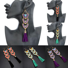 Fashion Jewelry Charm Resin Chandelier Long Leather Tassel Hook Dangle  Earrings