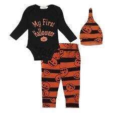 3PCS Infant Baby Boy Girl My First Halloween Outfits Clothes Romper+Hat+Pants