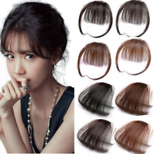Women Real Human Hair Natural Thin Neat Air Bangs Clip In Fringe Front Hairpiece