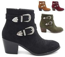 Ladies Womens Mid Block Heel Western Cowboy Biker Buckle Ankle Boots Shoes Size