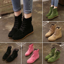 Womens Ankle Lace Up Boots Increase Flat Heel Booties Martin Boots Winter Shoes