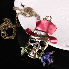 Unisex Jewelry Halloween Party Skull Flower Pendant Chain Necklace Gift Cheap
