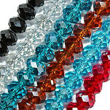 GLASS BEADS FACETED RONDELLE DISCS BEAD 4X6MM 6 COLORS TO CHOOSE LARGE STRAND