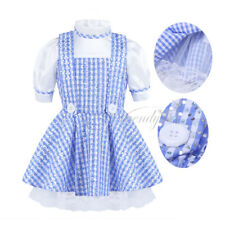 Lovely Girls Kids Polka Dots Fancy Dress Maid Halloween Costume Cosplay Outfits