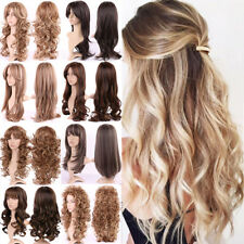 Ombre Wig Women Ladies Long Curly Hair Full Wig Real Heat Resistant Synthetic