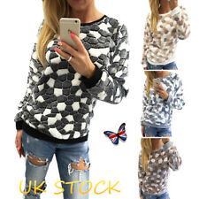UK Womens Stone Print Warm Jumper Winter Pullover Sweater Top Long Sleeve Blouse