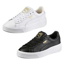 Puma Basket Platform Womens Black White Gold Trainers Shoes Size 4-8
