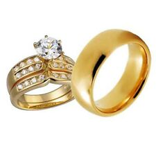 His and Hers Wedding Rings 3 pcs Engagement CZ Sterling Silver Tungsten Set AO