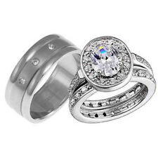 His and Hers Wedding Rings 3 pcs Engagement CZ Sterling Silver Titanium Set P