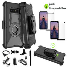 SAMSUNG GALAXY Note 8 S8+ Case Tempered Glass Kickstand Belt Clip Holster Cover