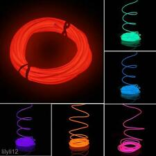 5M Neon Light Glow EL Wire Rope Tube Car Bar Dance Party With 12V Power Inverter