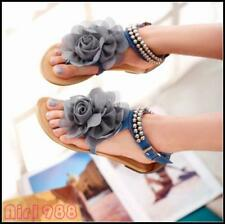 New fashion women flower Beads ankle strap flats t-strap thong sandals All Size