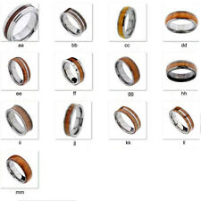 Tungsten Carbide Ring Brown Wood Wedding Band Mens Jewelry Black Silver