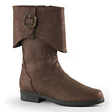 Brown Pirate Medieval Knight Renaissance Faire Mens Costume Boots size 11 12 13