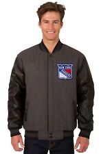 New York Rangers NHL Jacket Wool Leather Sleeves Reversible Embroidered Logos
