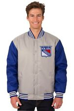 New York Rangers NHL Jacket Poly Twill Gray Royal Embroidered Logos Licensed