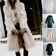 Womens Faux Fur Soft Warm Hooded Coat Outerwear Overcoat Long Jacket Parka Cloth