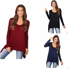 Womens Long Sleeve Jersey Tops Hanky Hem Loose Pleated Flared Tunic UK 8-20
