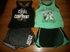JUSTICE 2 PC TANK TOP W/ BRA & SPORT SHORTS SET CATS GIRLS ACTIVE OUTFIT SZ 20