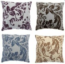 "Luxurious Flock  Damask Faux Silk Filled Scatter Cushion / Covers 17"" x 17"""