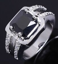 Fashion Size 8,10,11 Man Emerald Cut Black Sapphire 10KT Gold Filled Ring Gift