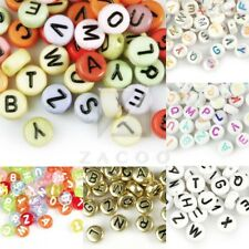 70pcs Acrylic Alphabet Letter Beads Flat Round Jewelry Making 7x7mm Wholesale